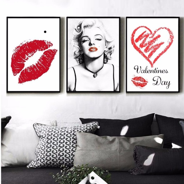 Nordic Home Decoration Marilyn Monroe Canvas Painting Sexy Red Lips Oil Wall Pictures For Living