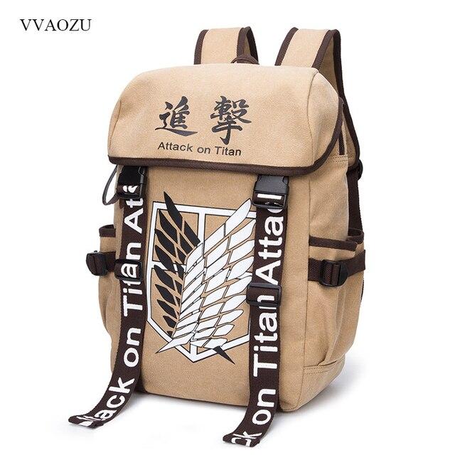Anime Cosplay attaque sur Titan Eren sac bande dessinée toile sac à dos Shingeki no Kyojin unisexe cartable epaules sacs de voyage