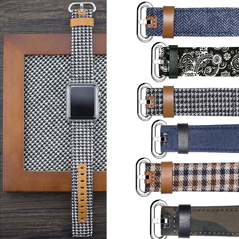 New Genuine Leather Watchband for Apple Watch 3 2 1 Series Band 1:1 with Adapter for Iwatch 42mm 38mm Band Fabric Denim jeans kakapi crocodile skin genuine leather watchband with connector for apple watch 38mm series 2 series 1 pink