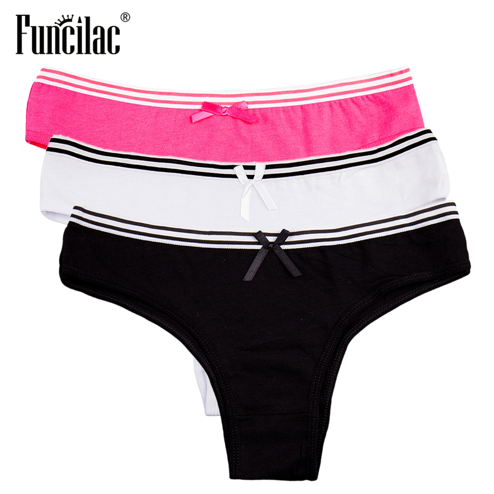 FUNCILAC Brand Underwear Women Sexy Striped Panty Girls Cotton Briefs Simple Solid Shorts Soft Breathable Female Intimates3pcs 1
