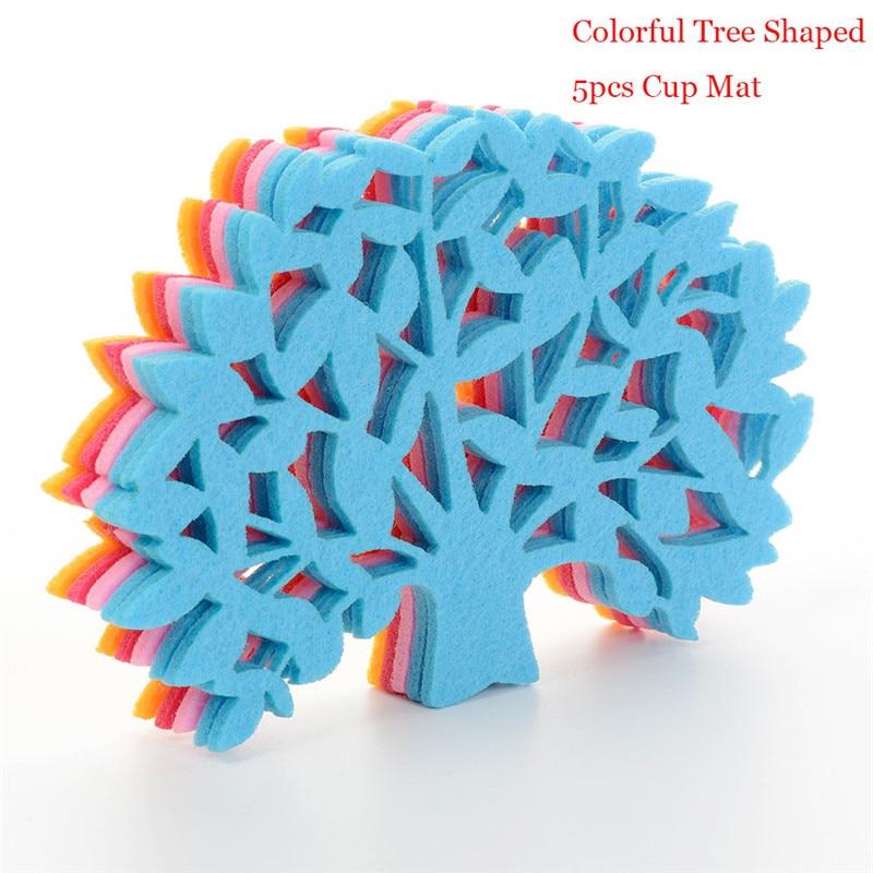 5Pcs/Pack Creative Colorful Tree Shape Felt Coasters Cup Mat Pad Bowl Glass Plate Mug Coaster Free Shipping
