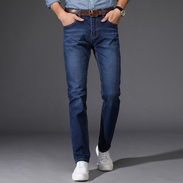 Men Jeans Business Casual Thin Summer Straight Slim Fit Blue Jeans Stretch Denim Pants Trousers Classic Cowboys Young Man Jeans
