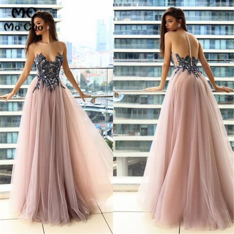 Sheer Neck Prom dresses Long with Appliques Beaded Tulle Women's dress for graduation Button Puffy Evening Party Prom Gowns