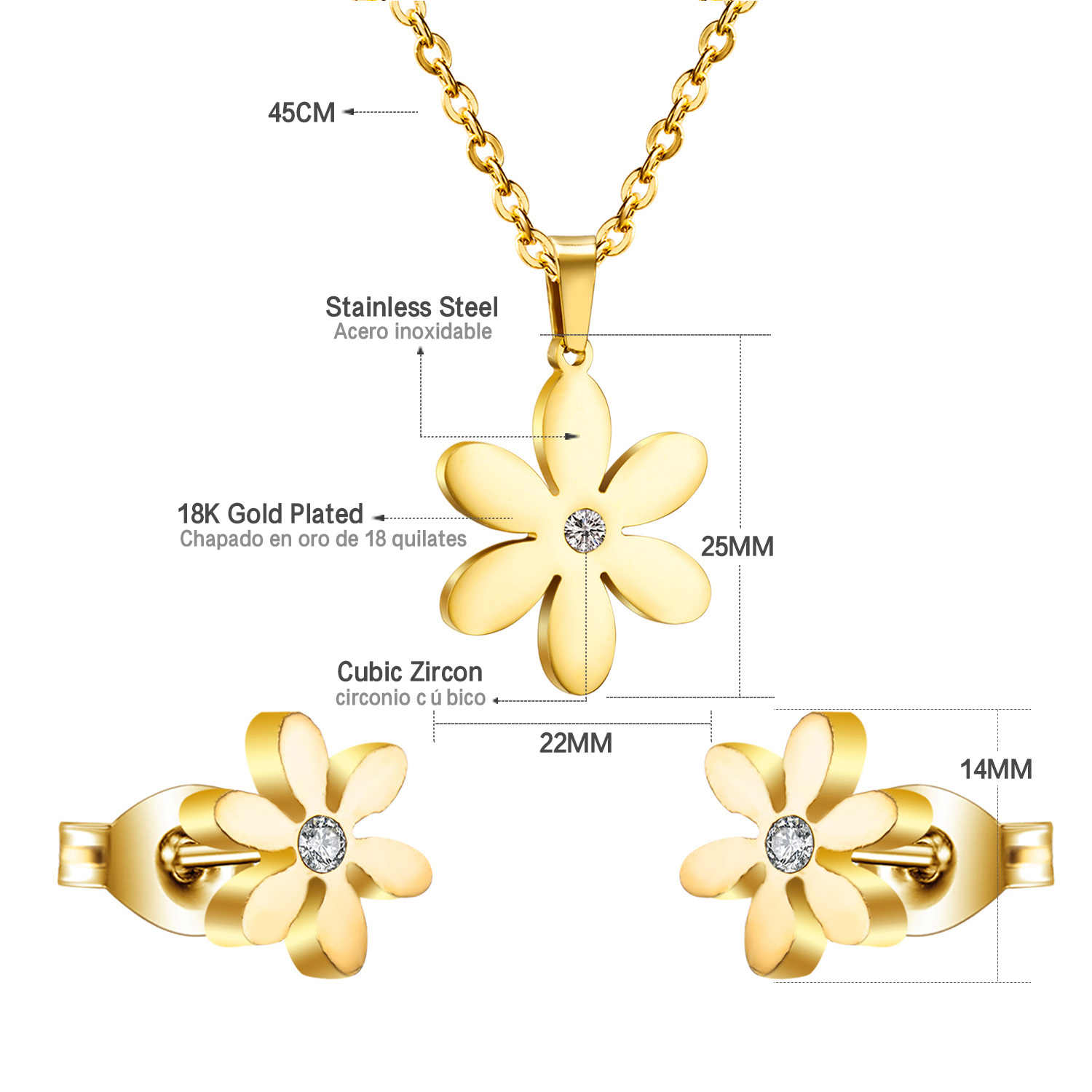 Luxusteel Crystal Flower Jewelry Sets Stainless Steel Gold Silver