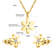 Flower Pendant Necklaces + Earrings For Women