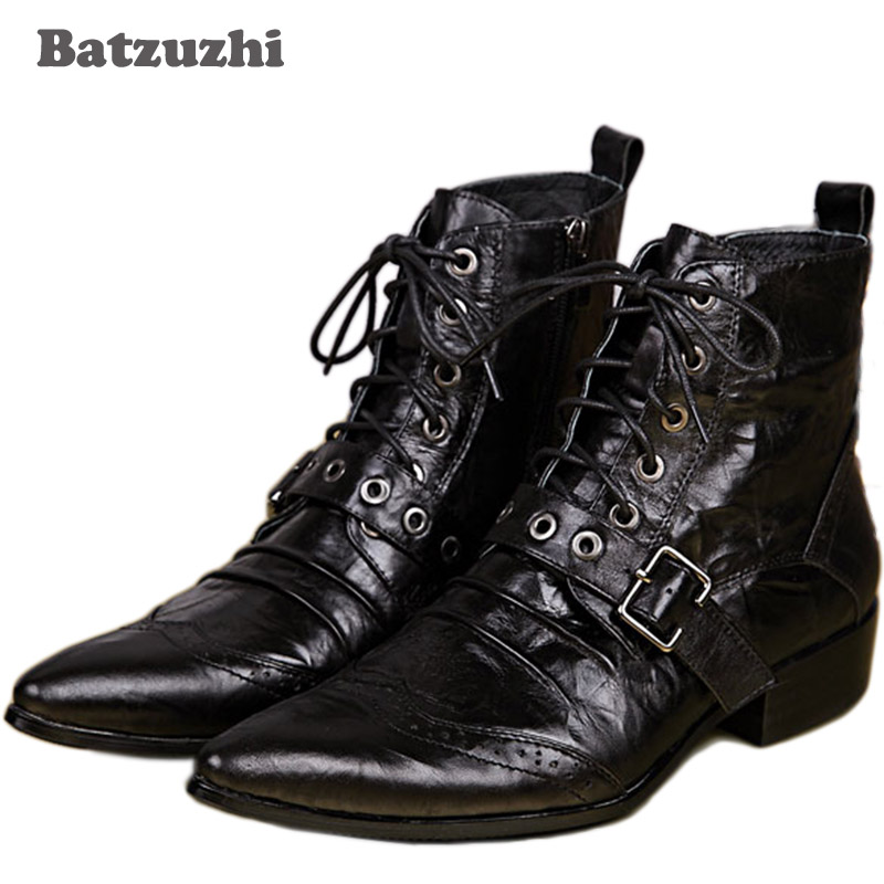 Batzuzhi New Men's Leather Boots Designer Black Ankle Lacing Up Buckle Strap Pointed Toe Short Motorcycle Boots Men, EU38-46