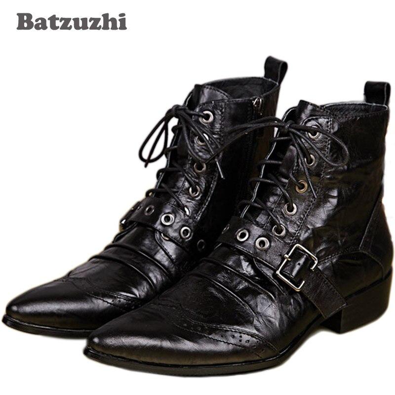Batzuzhi New Mens Leather Boots Designer Black Ankle Lacing Up Buckle Strap Pointed Toe Short Motorcycle Boots Men, EU38-46