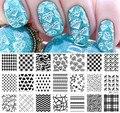 Corazón Diamond Grids Nail Art Sello Plantilla Placa de la Imagen NACIDO PRETTY BP-L013