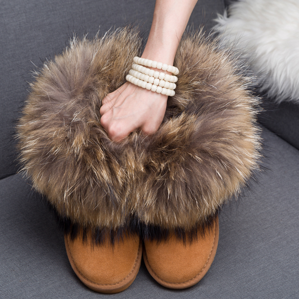 Women Boots Genuine Leather Real Fox Fur Brand Winter Shoes Warm Black Round Toe Casual Plus Size Female Snow Boots