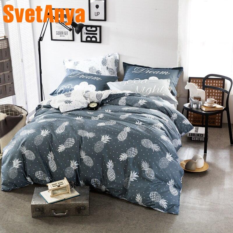 Svetanya Fruits Pineapple Print Sheet Pillowcase Duvet Cover set 100% Cotton Bedding sets Single Queen Full Double Size Bedlinen