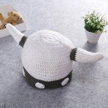 Handmade wool horn cap creative cute children's handmade hat gray horn cap knitted hat