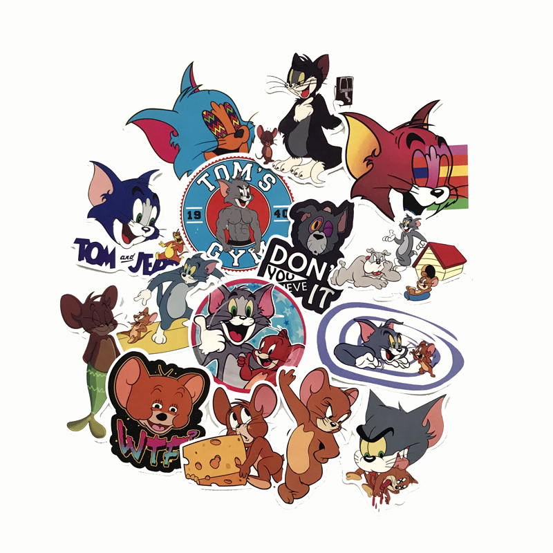 15Pcs Tom Cat Jerry Mouse 2019 Cartoon Waterproof Sticker Comedy Waterproof Suitcase Laptop Guitar Luggage Skateboard Toy