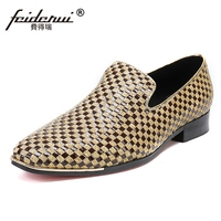 Plus Size Round Toe Slip On Man Moccasin Loafers High Quality Genuine Leather Handmade Comfortable Men