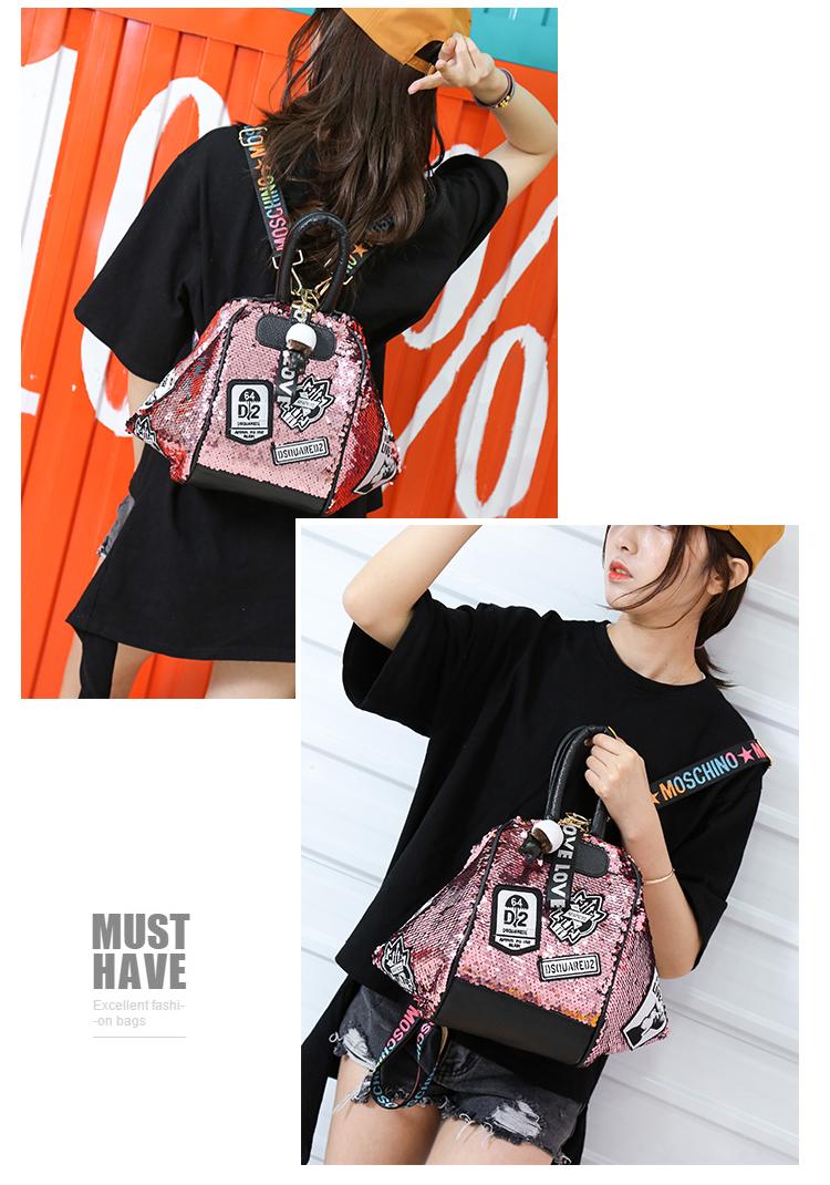 backpack women Fashion Women Bling Shiny Sequins Sparkling Shoulder Bags Larger Capacity Drawstring Bag backpack 79