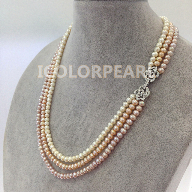 LovelyThree-strand 6-7mm White PInk Purple Semiround Cultured Freshwater Pearl Jewelry Necklace With SIlver Rose Clasp