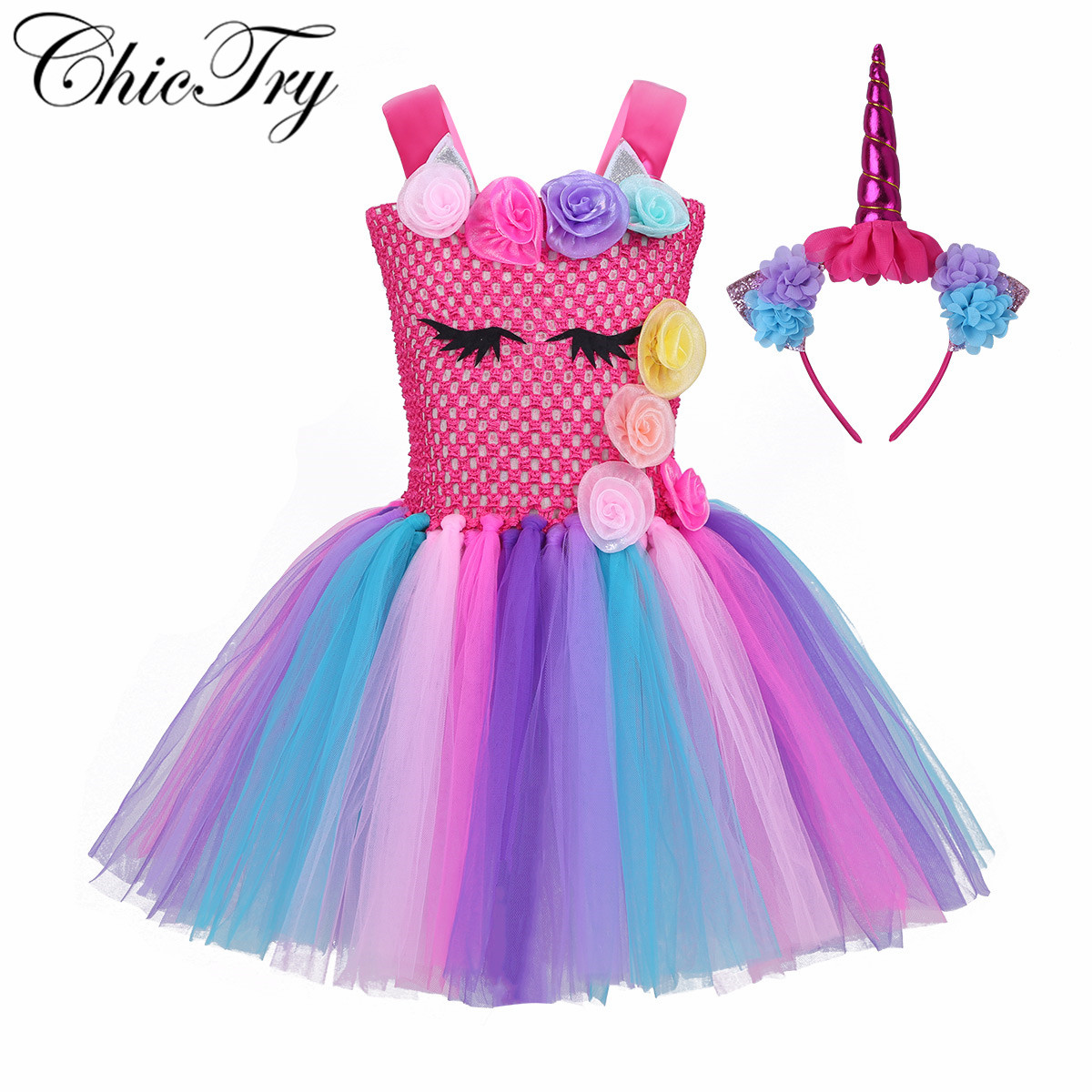Flower Girls Children Princess Tulle Tutu Dress Princess Mesh Dress for Halloween Cosplay Party Costume Fancy Party Role Play