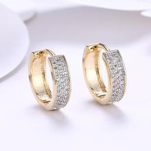 цена на New Design Round Hoop Earrings for Womens White Clear Cubic Zirconia Stone Earing Fashion Jewelry Accessories Gifts