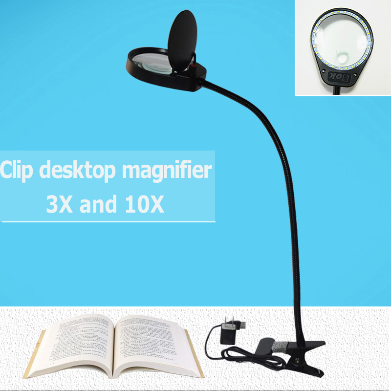 Clip Desktop magnifier Lamp Rechargeable 3X and10x magnifying glass table machine LED Lamp for Teaching expriments hot table magnifier 90mm 2 led lamp magnifier clip on desk table magnifying glass loup