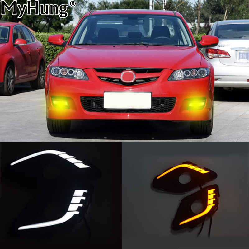 Car LED Daytime Running Light For Mazda 6 2013 2014 Car Accessories Waterproof 12V DRL Fog Lamp Decoration White And Yellow qvvcev 2pcs new car led fog lamps 60w 9005 hb3 auto foglight drl headlight daytime running light lamp bulb pure white dc12v