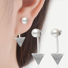 Everoyal Charm Triangle Crystal Gold Earrings For Women Party Accessories Fashion 925 Silver Pearl Girl Jewelry Hot