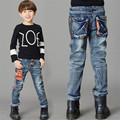 2017 Spring Fashion Embroidery Print Boys Jeans Pants Light Wash Boys Jeans for Boys Regular Elastic Waist Children's Jeans P260