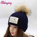 Hot Sale Solid Winter Women's Hats Knitted Natural Raccoon Fur Caps With Pompom Men Handmade Beanie Hat Acrylic Gorras ZZM009