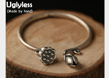 Uglyless Real S 990 Fine Silver Women Ethnic Vintage Fine Jewelry Handmade Carved Lotus Charm Opening Bangles Adjustable Jewelry