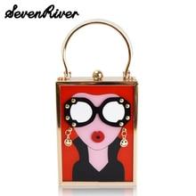 Luxury Trunk Shape Tote Women Handbag Brand Acrylic Evening Clutch Bag Glasses Ladies Party Purse Shoulder Bag
