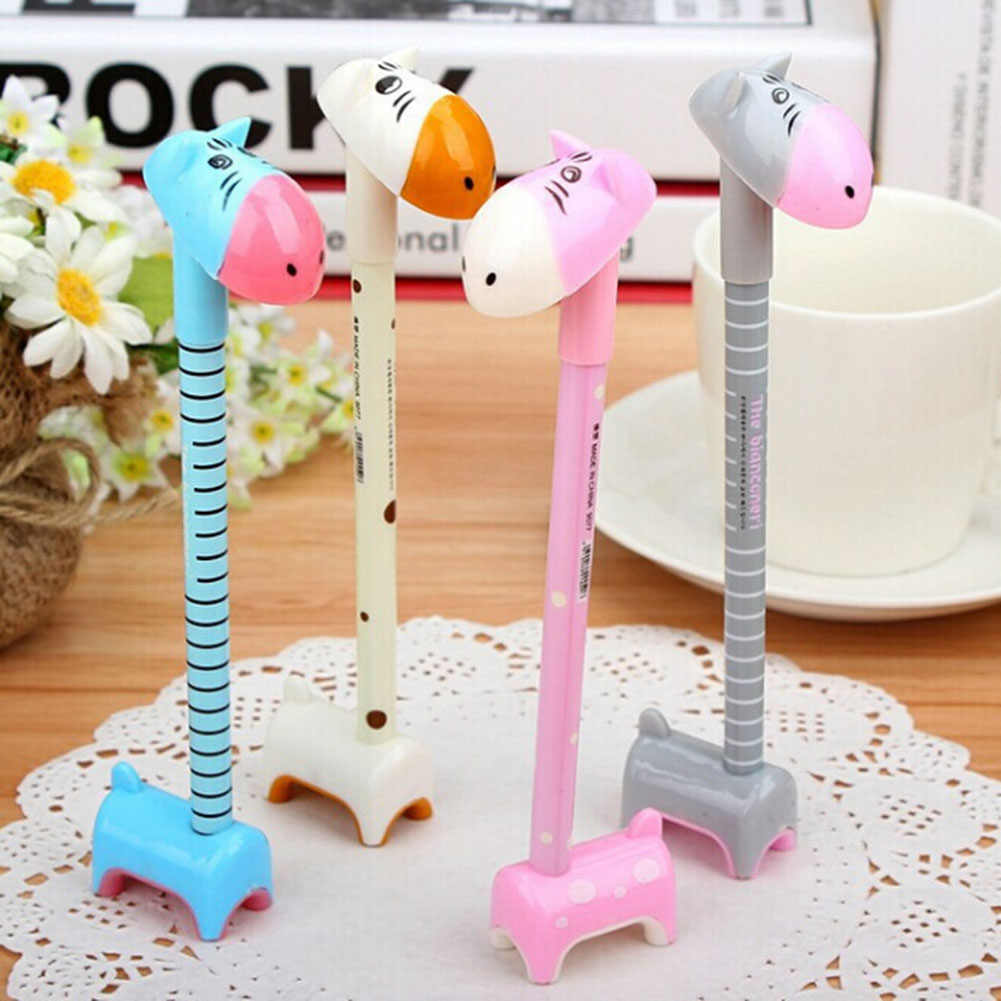 1 Pc Color Random New Korea Creative Style Lovely Colorful Ball Point Pen Cute New Design Stationery Assemble Giraffe Gel Pen