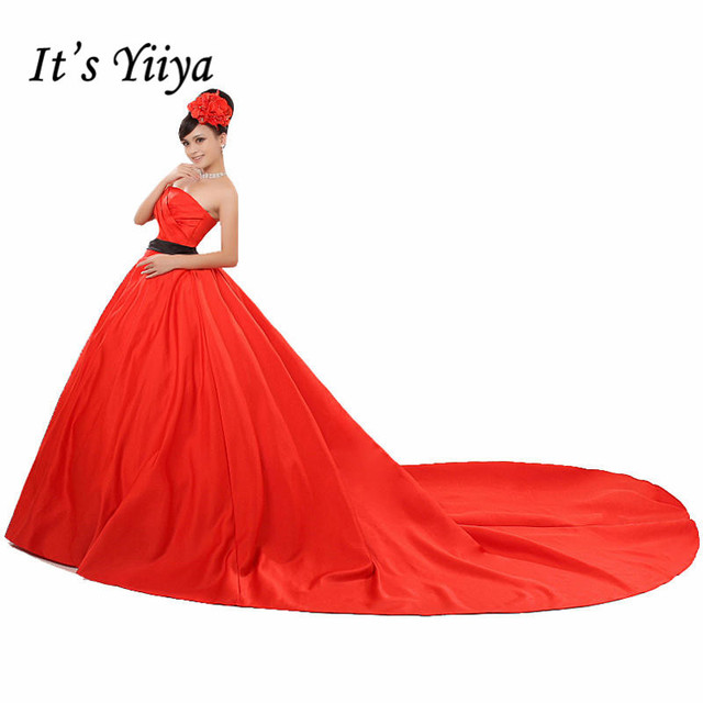 Free shipping Korean Style Red Strapless Brush Train Wedding Dresses ...