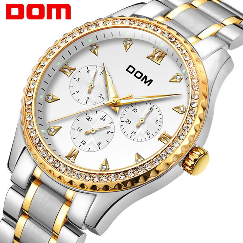 DOM Heren Horloges Topmerk Luxe Waterdicht Goud Quartz Horloge Datum - Herenhorloges
