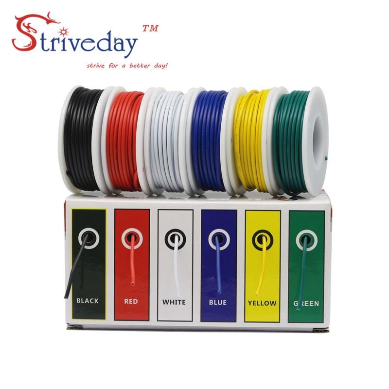 18 20 22 24 26 28AWG (набор многожильных проводов 6 цветов), электрические провода, провода для авиакомпании, медный провод PCB, DIY
