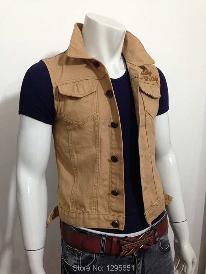 Free Shipping Dark Khaki Men Jean Vest Stylish Letters Printing Men