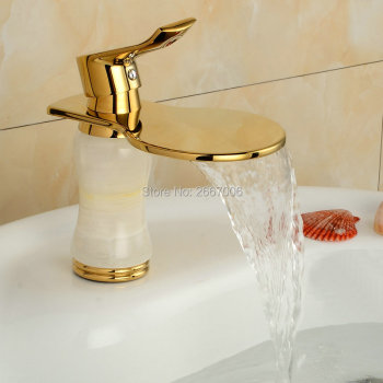 Free Shipping Discount Cheap Waterfall Faucet Gold Plate Basin Tap Marble Stone Mixer Tap Bathroom Faucet Deck Mounted Tap ZR801