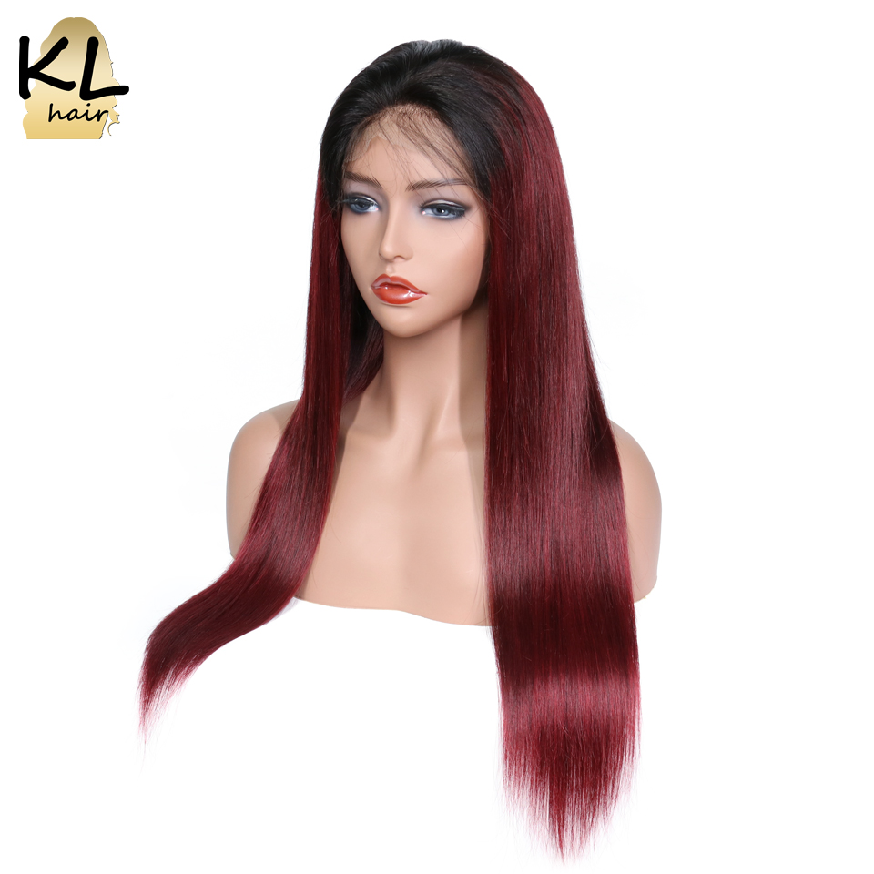 Ombre Color 1B 99J Lace Front Human Hair Wigs With Baby Hair Brazilian Remy Hair Pre