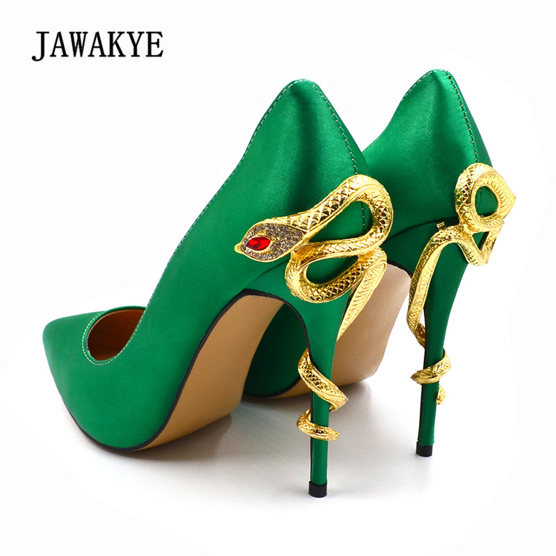 цена на 2018 Green Luxury Satin Wedding Shoes Woman Sexy Pointed Toe Gold Snake Strap High Heel Shoes Lady Pumps