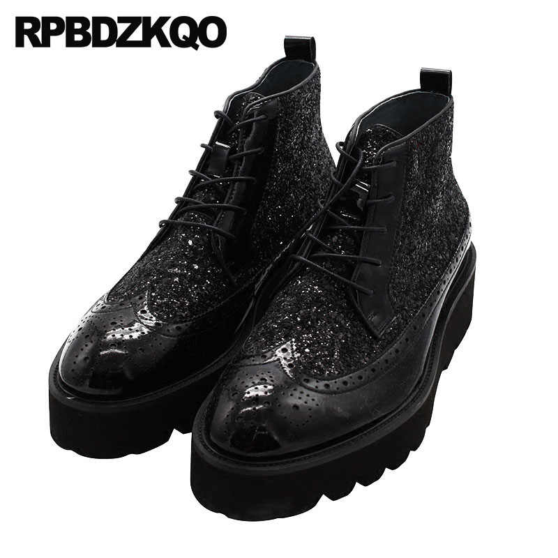 d6377881d0 Harajuku High Top Booties Thick Soled Black Platform Full Grain Leather  Wingtip Sole Male Brogue Shoes
