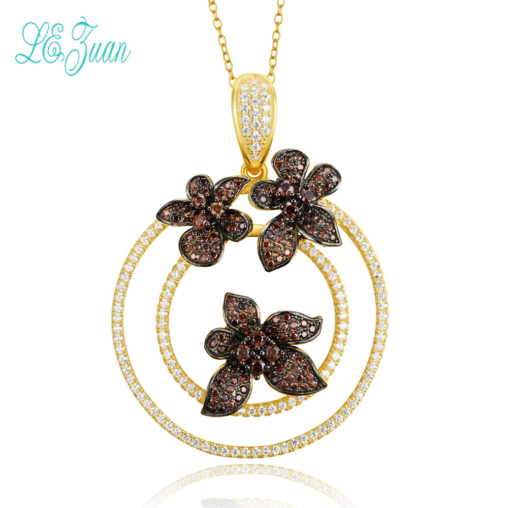 l&zuan S925 Sterling Silver Jewelry Round With Flower Multicolor Zircon Pendant Necklace For Women Christmas Gifts darice 2463 54 plastic metallic christmas bulbs 1 12 pkg multicolor