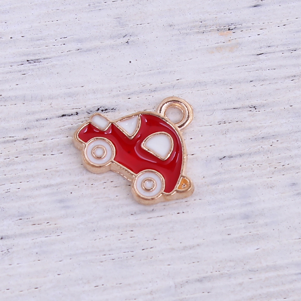 DoreenBeads Zinc Based Alloy Gold Color White & Red Travel Charms Car Enamel DIY Components 13mm( 4/8) x 11mm( 3/8), 5 PCs