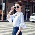 2017 nuevo verano tops flare manga ruffles camisetas con cuello en v de las mujeres elegante camisa más tamaño mujeres clothing camisa femininas