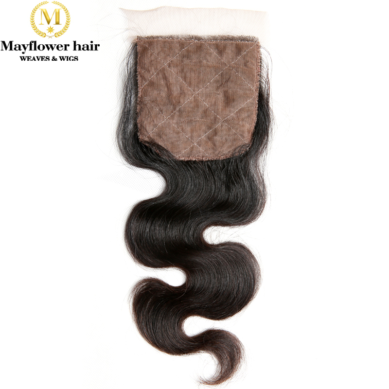 "MFH Silk Base Hair Closure Malaysian Virgin Hair Body Wave Natural Color 8-18""  Hand Tied With Baby Hair  Middle Or Free Part"