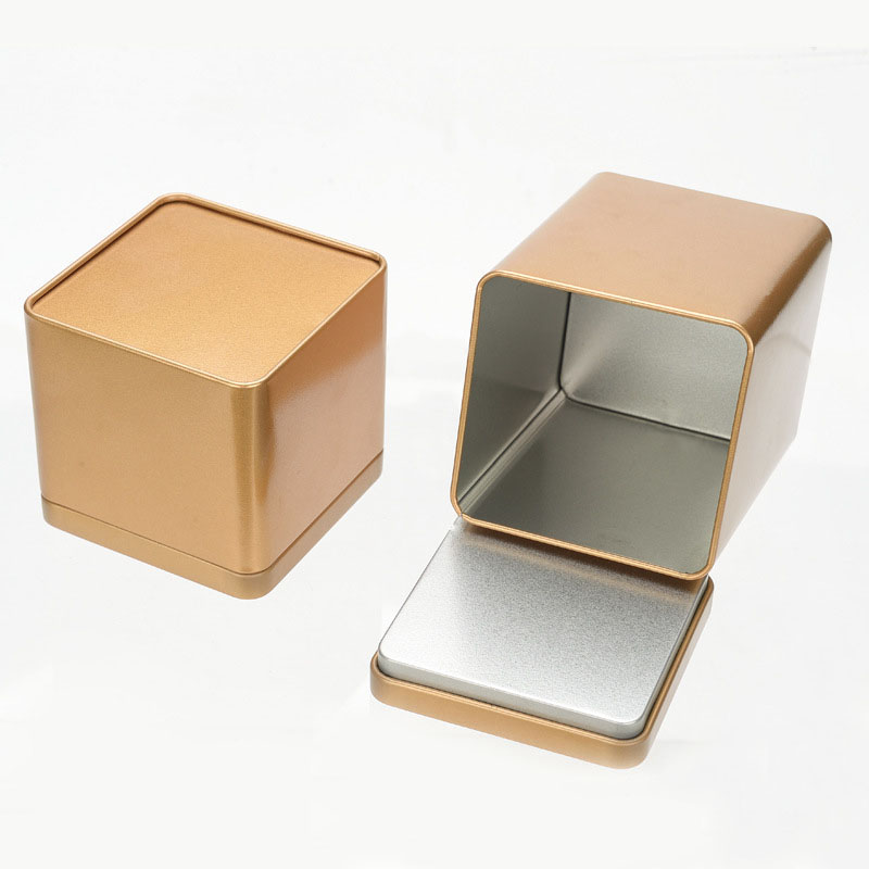 50pcs/lot 90*90*85mm Metal Silver Metal Box Storage Container Food Tea