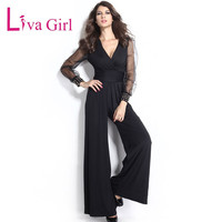 Blue Embellished Cuffs Long Mesh Sleeves Jumpsuit Deep V Neck Sexy Rompers Womens Loose Full Length