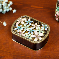 New Metal Travel Jewelry Box Vintage Jewelry Box Display Storage Case for Rings Earrings Necklace Box Jewelry Storage Boxes
