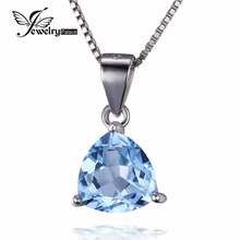 Classic Natural Sky Blue Topaz Pendant Necklace fit Chain 18Inch Solid 925 Sterling Silver Charms Trillion 9X9mm 3.17ct Pendant