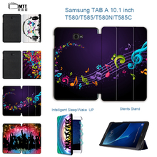 MTT Fashion Music PU Leather Case For Samsung Galaxy Tab A a6 10.1 2016 T580 T585 SM-T585 Case Cover Tablet Stand PC Shell Funda
