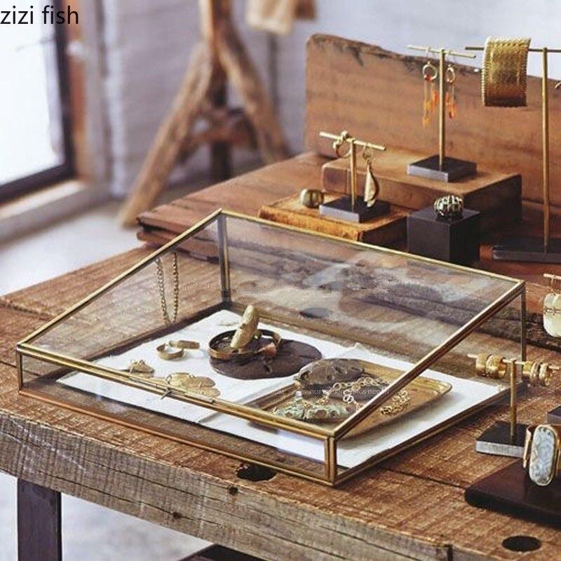 Style nordique verre cuivre paniers de rangement boîte organisateur de maison pour bijoux collier Dessert vitrine affichage boîte décoration
