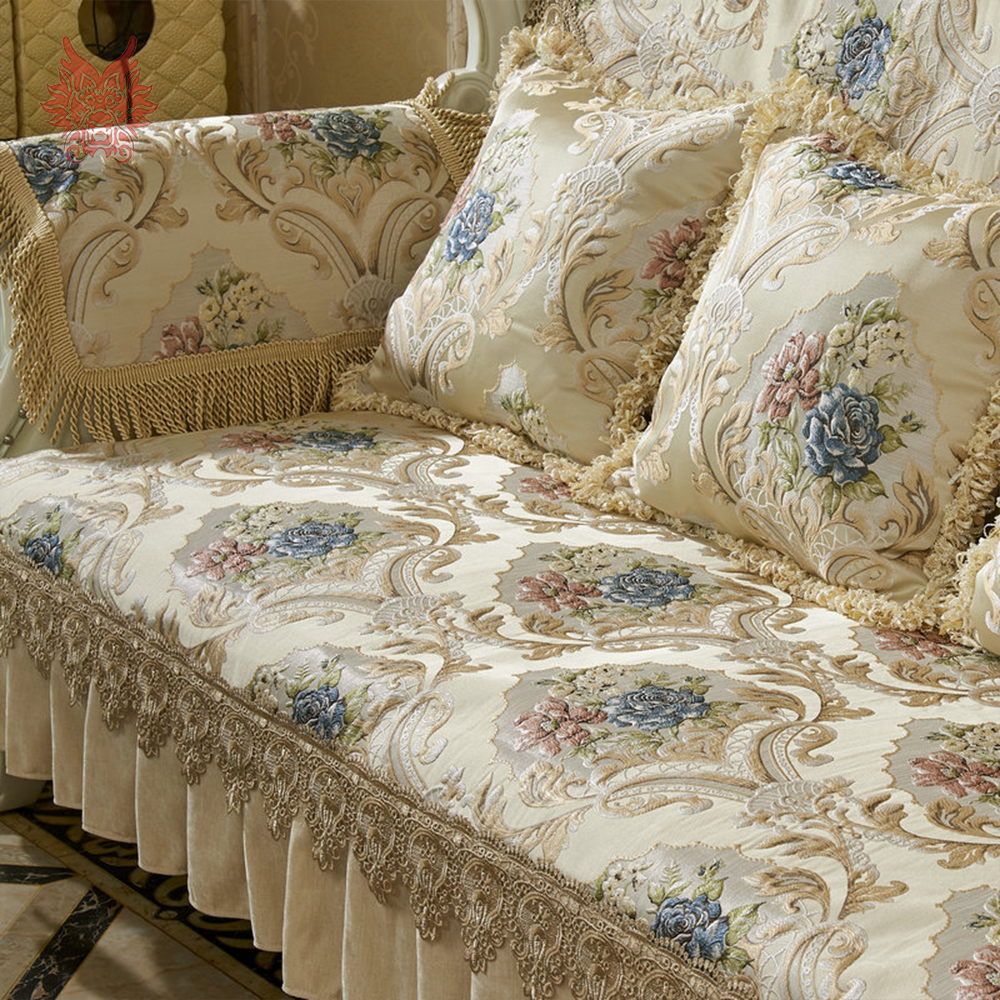 Magnificent Us 21 4 50 Off Europe Style Luxury Floral Jacquard Embroidery Sectional Sofa Covers Ruffles Lace Spliced Slipcovers Fundas De Sofa Sp5406 In Sofa Uwap Interior Chair Design Uwaporg