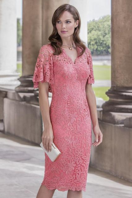 Venda quente Rosa Lace Bainha Mãe Dos Vestidos de Noiva 2017 Curto mangas V Pescoço Na Altura Do Joelho mãe da noiva pant ternos X-101