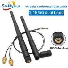 Dual Band 2.4G 5G 8dBi RP SMA Masculino Antena do Roteador Wi fi Antena 2.4ghz Antenas com 20 centímetros PCI u. FL IPX para SMA Cabo Pigtail Masculino
